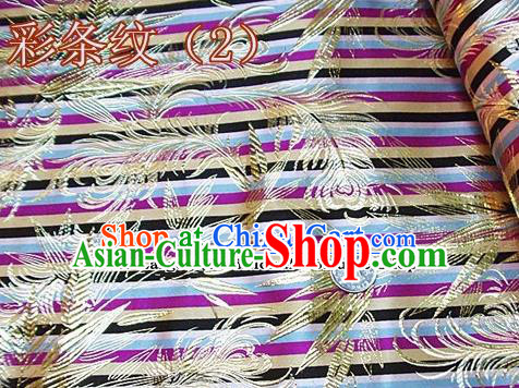 Traditional Chinese Royal Feather Bamboo Pattern Colorful Brocade Tang Suit Fabric Silk Fabric Asian Material