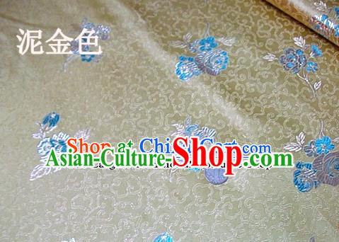 Traditional Chinese Royal Tulipa Pattern Light Golden Brocade Tang Suit Fabric Silk Fabric Asian Material