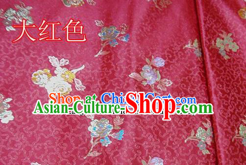 Traditional Chinese Royal Pattern Red Brocade Tang Suit Fabric Silk Fabric Asian Material