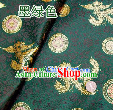 Traditional Chinese Green Brocade Tang Suit Royal Phoenix Pattern Fabric Silk Fabric Asian Material