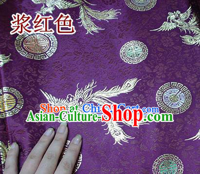 Traditional Chinese Purple Brocade Tang Suit Royal Phoenix Pattern Fabric Silk Fabric Asian Material