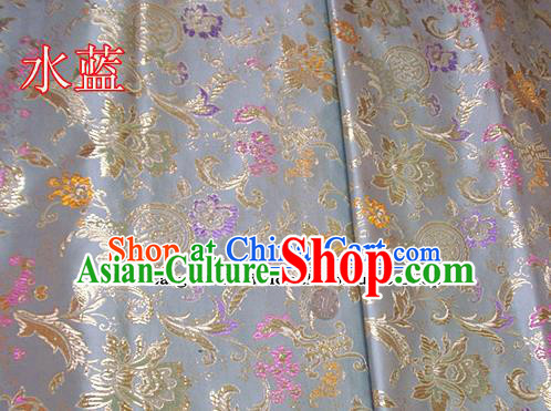 Traditional Chinese Light Blue Brocade Tang Suit Palace Fabric Silk Fabric Asian Material