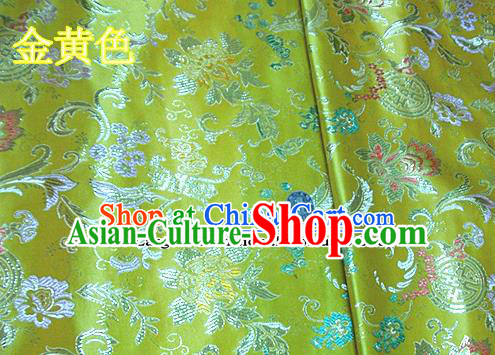 Traditional Chinese Golden Brocade Tang Suit Palace Fabric Silk Fabric Asian Material