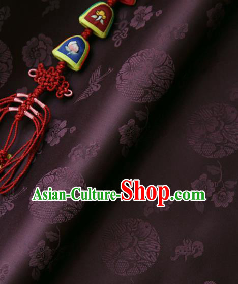 Asian Traditional Classical Pattern Brown Brocade Cloth Drapery Korean Hanbok Palace Satin Silk Fabric