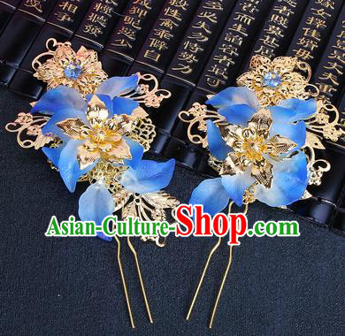 Chinese Traditional Hair Accessories Hair Clip Ancient Princess Blue Flowers Hairpins for Women