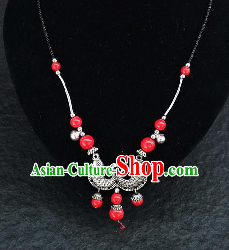 Chinese Traditional Jewelry Accessories Yunnan National Double Fish Red Beads Minority Necklace for Women