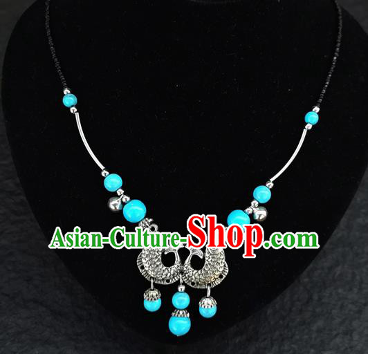 Chinese Traditional Jewelry Accessories Yunnan National Double Fish Blue Beads Minority Necklace for Women
