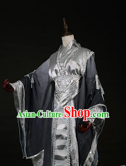 Chinese Traditional Ancient Swordsman Nobility Childe Grey Costumes for Men