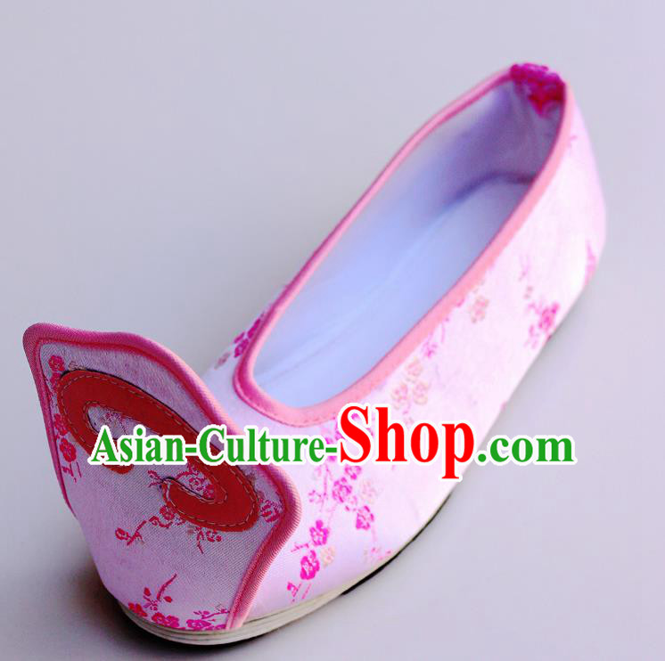 Chinese Traditional Hanfu Shoes Pink Satin Shoes Ancient Princess Embroidered Shoes for Women