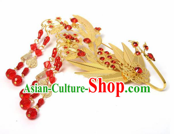 Chinese Traditional Hair Accessories Ancient Princess Golden Hairpins Headwear for Women