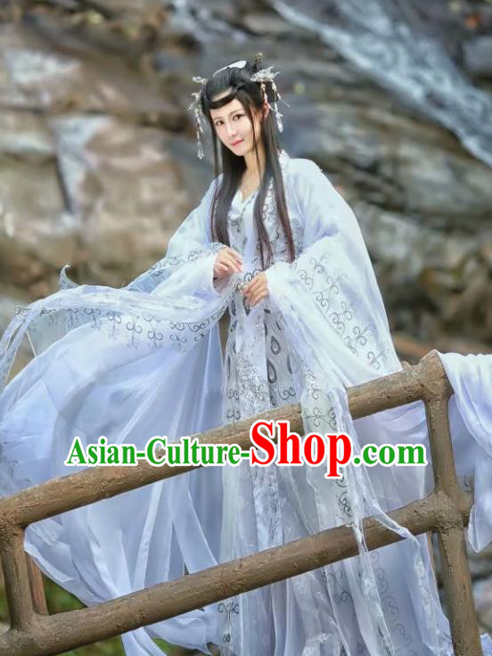 Chinese Traditional Ancient Peri Princess White Hanfu Dress Swordswoman Costumes for Women