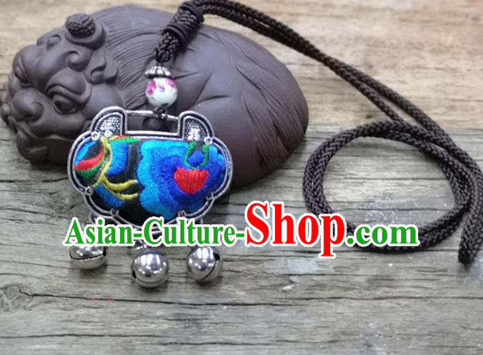 Chinese Traditional Accessories Yunnan Minority Necklace Embroidered Blue Flowers Longevity Lock for Women