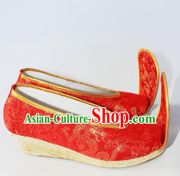 Chinese Traditional Wedding Hanfu Shoes Red Satin Shoes Ancient Embroidered Shoes for Women