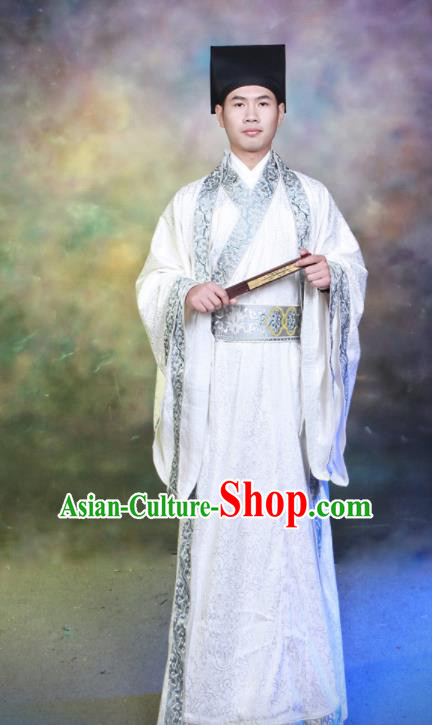Chinese Traditional Han Dynasty Scholar Hanfu Clothing Ancient Landlord Costumes for Men