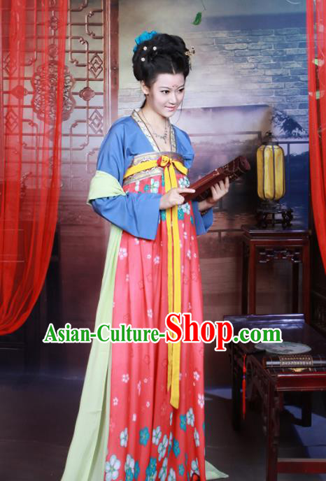 Chinese Traditional Tang Dynasty Historical Costumes Ancient Peri Goddess Hanfu Dress for Women