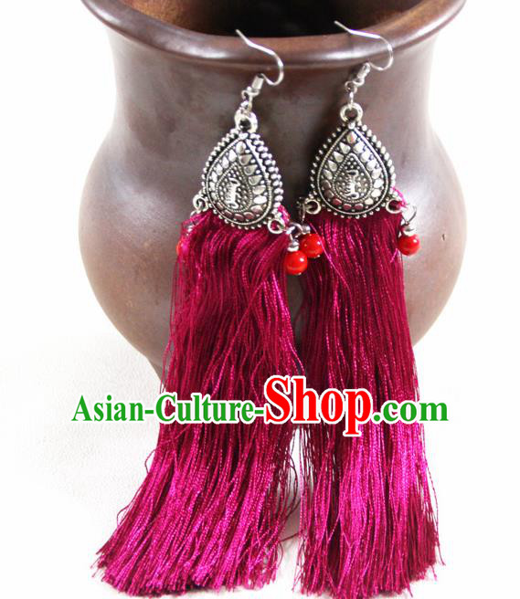 Chinese Traditional Ethnic Rosy Tassel Earrings Yunnan National Ear Accessories for Women