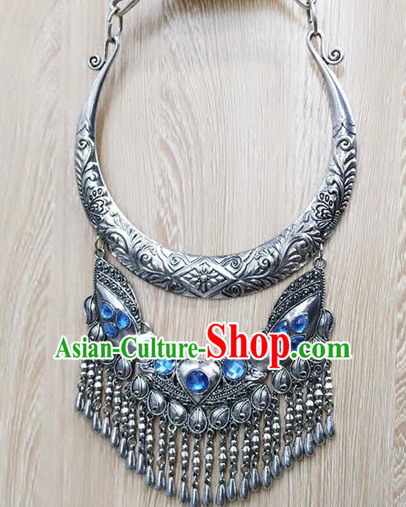 Chinese Traditional Miao Minority Blue Crystal Longevity Lock Necklace Ethnic Folk Dance Accessories for Women
