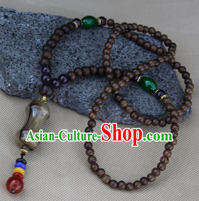 Chinese Traditional Miao Minority Sandalwood Beads Necklace Ethnic Folk Dance Accessories for Women
