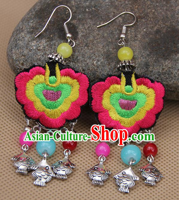 Chinese Traditional Ethnic Rosy Embroidered Earrings National Ear Accessories for Women