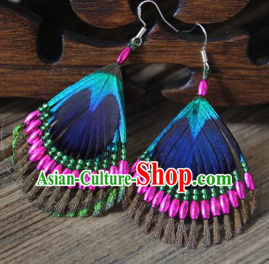 Chinese Traditional Ethnic Rosy Beads Feather Earrings National Ear Accessories for Women