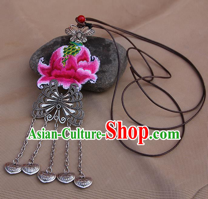 Chinese Traditional Miao Minority Embroidered Pink Lotus Necklace Ethnic Folk Dance Accessories for Women