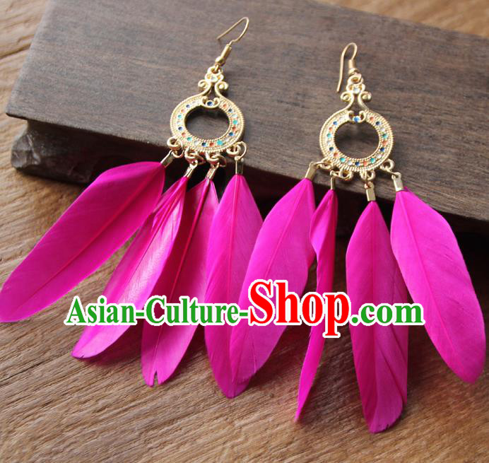 Chinese Traditional Ethnic Rosy Feather Earrings National Ear Accessories for Women