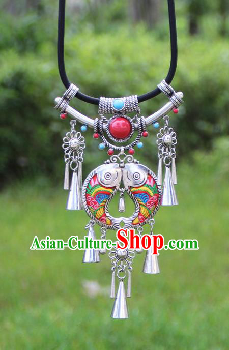 Chinese Traditional Minority Embroidered Red Double Fishes Necklace Ethnic Folk Dance Accessories for Women