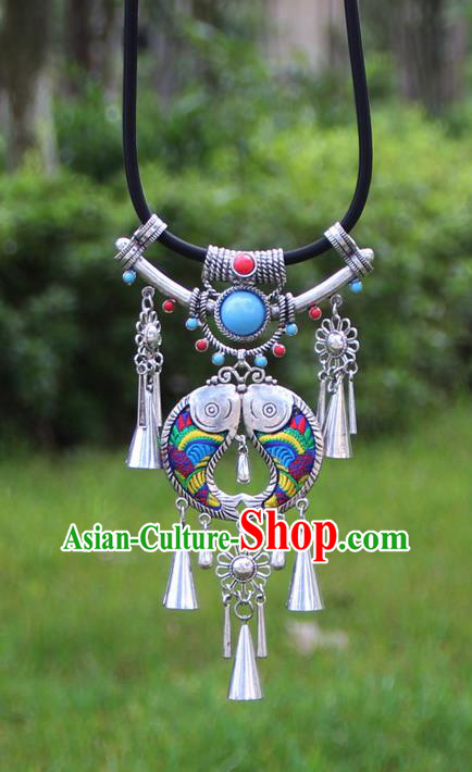 Chinese Traditional Minority Embroidered Blue Double Fishes Necklace Ethnic Folk Dance Accessories for Women