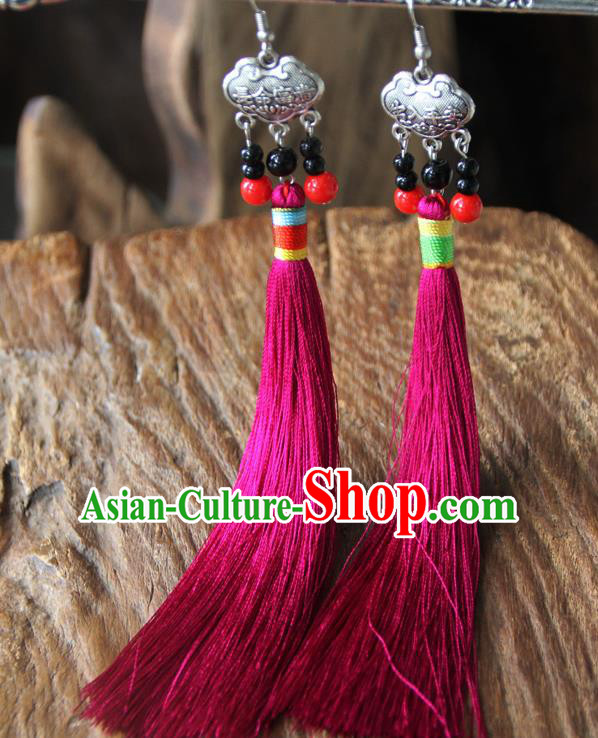 Chinese Traditional Ethnic Rosy Tassel Longevity Lock Earrings National Ear Accessories for Women