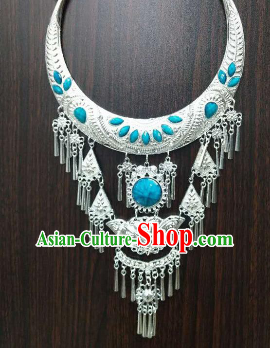 Chinese Traditional National Ethnic Blue Necklace Tassel Necklet Jewelry Accessories for Women