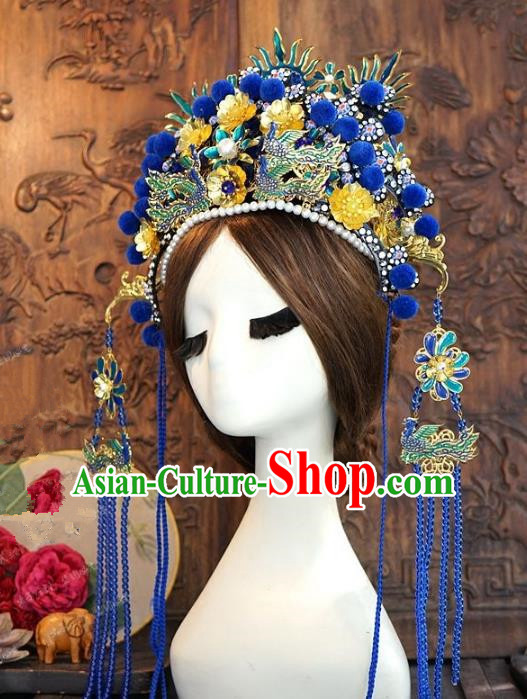Chinese Handmade Classical Hairpins Hair Accessories Ancient Blue Tassel Phoenix Coronet for Women