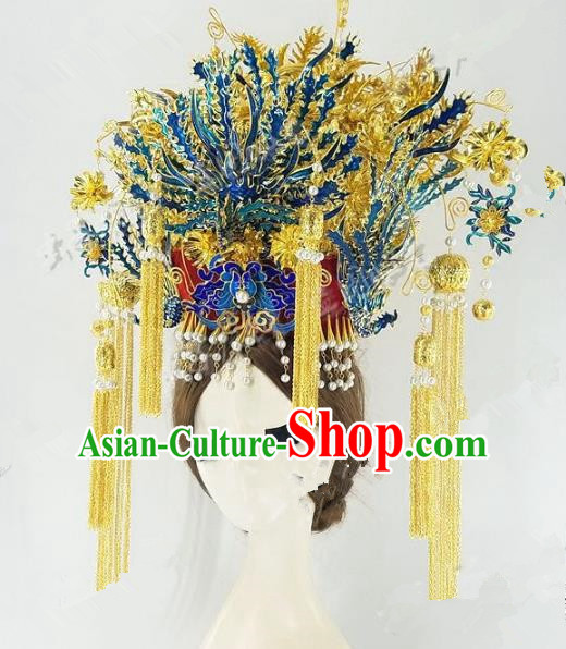Chinese Handmade Classical Hairpins Hair Accessories Ancient Qing Dynasty Palace Queen Headwear Phoenix Coronet for Women