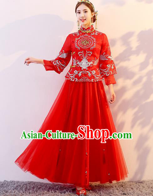 Traditional Chinese Wedding Costume Ancient Bride Embroidered Red Xiuhe Suit Clothing for Women
