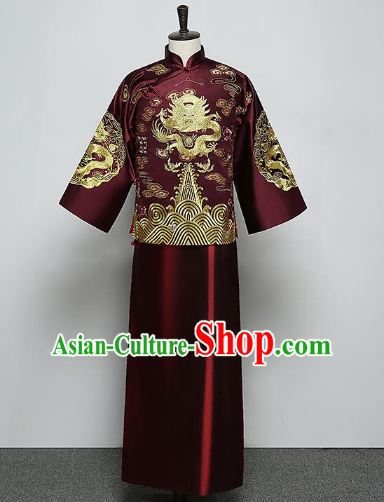 Ancient Chinese Style Wedding Dress Ancient Groom Toast Clothing Mandarin Jacket for Men
