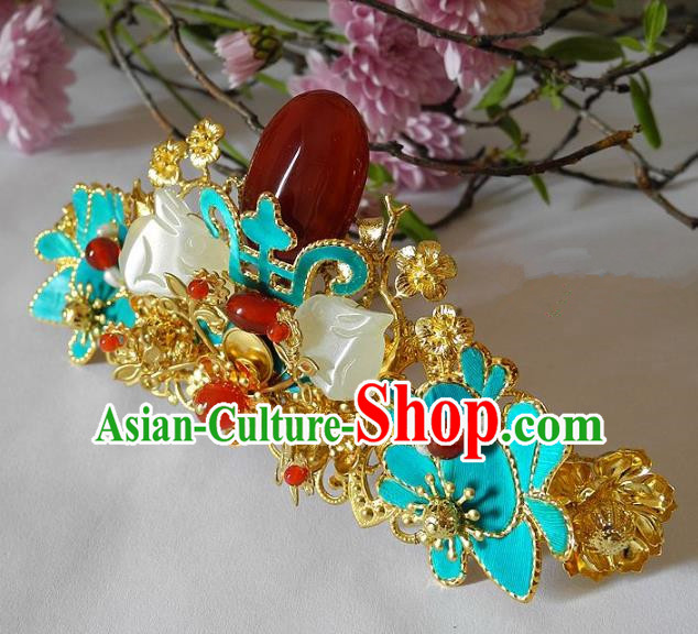 Chinese Handmade Classical Jade Hairpins Hair Accessories Ancient Bride Headwear Hair Clip for Women