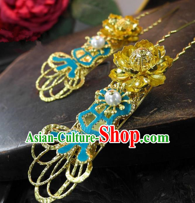 Chinese Handmade Classical Golden Lotus Hairpins Hair Accessories Ancient Bride Headwear Hair Clip for Women