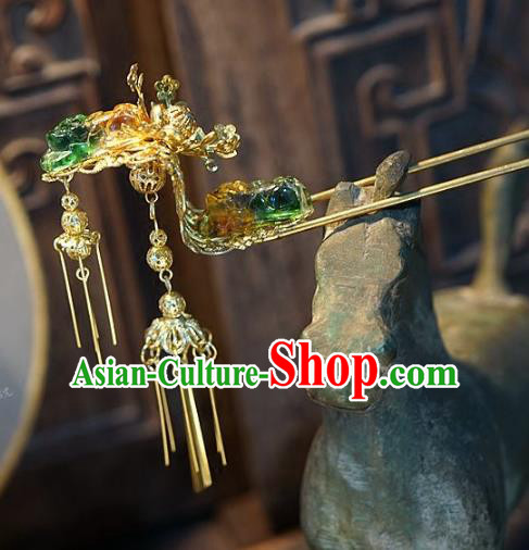 Chinese Handmade Classical Coloured Glaze Tassel Hairpins Hair Accessories Ancient Bride Headwear Hair Clip for Women