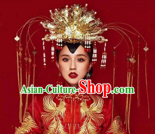 Chinese Handmade Classical Hairpins Tassel Phoenix Coronet Hair Accessories Ancient Bride Headwear for Women