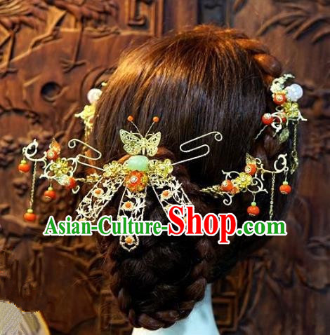 Chinese Handmade Classical Hairpins Tassel Hair Accessories Ancient Bride Xiuhe Suit Headwear for Women