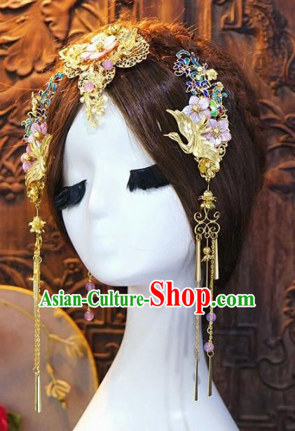 Chinese Handmade Classical Hairpins Tassel Hair Accessories Ancient Bride Headwear for Women