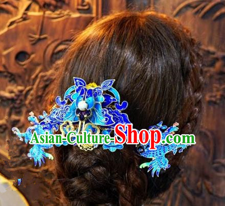 Chinese Handmade Classical Xiuhe Hair Accessories Blueing Hair Clip Ancient Bride Hairpins for Women