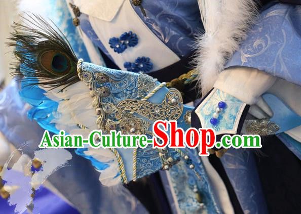 China Ancient Tang Dynasty Cosplay Swordsman Feather Blue Fans