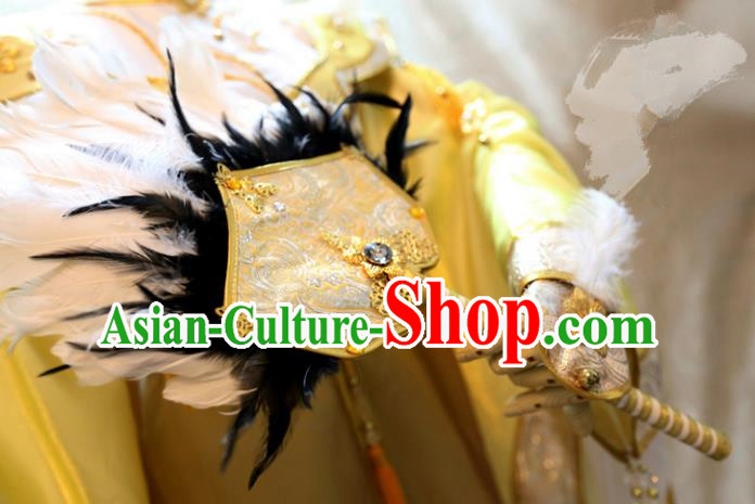 China Ancient Tang Dynasty Cosplay Swordsman Feather Golden Fans