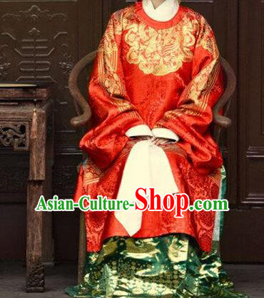 Ancient Chinese Ming Dynasty Imperial Empress Embroidered Wedding Costume for Women