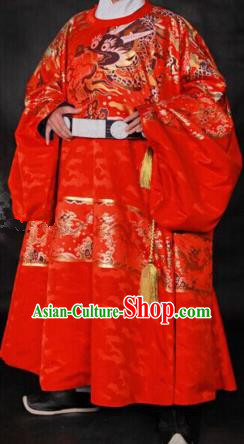 Ancient Chinese Ming Dynasty Palace Emperor Embroidered Wedding Costume for Men
