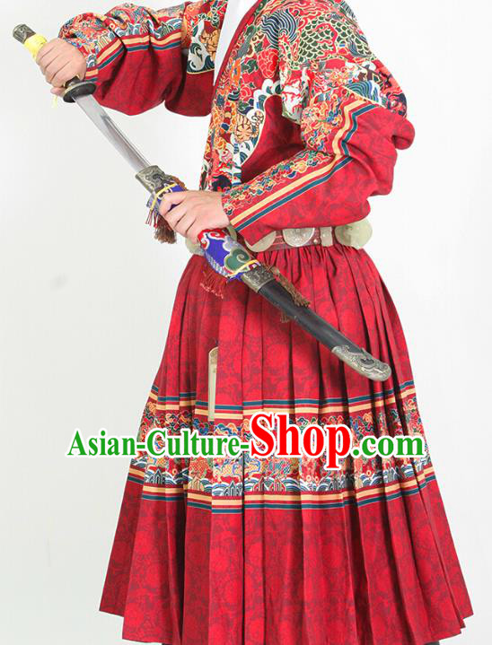 Ancient Chinese Ming Dynasty Imperial Bodyguard Embroidered Costume Red Fly Fish Cloths for Men