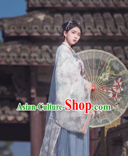 Ancient China Jin Dynasty Palace Lady Princess Embroidered Costume for Women