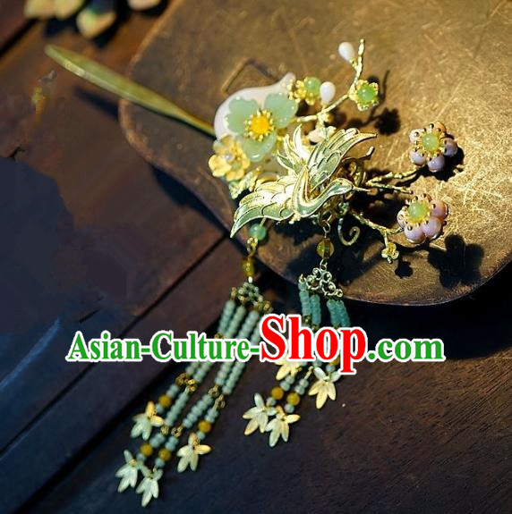 Chinese Handmade Classical Hairpins Tassel Golden Step Shake Hair Accessories Ancient Bride Headwear for Women