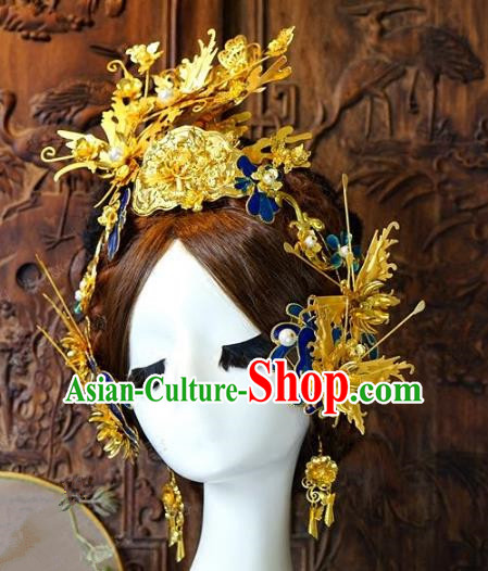 Chinese Handmade Classical Hair Accessories Ancient Golden Hair Stick Hairpins Complete Set for Women