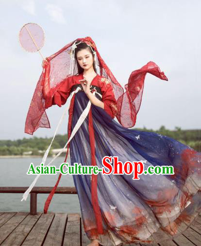 Ancient Traditional China Tang Dynasty Princess Embroidered Wedding Costumes Complete Set for Women